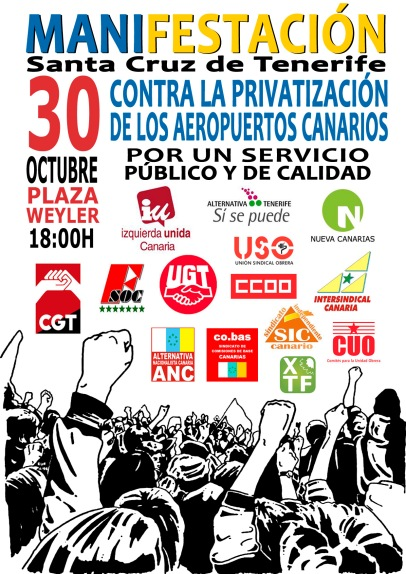 Cartel manifestación 30102014 contra privatizacion aeropuertos canarios v2